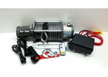 Лебедка электрическая 12V Electric Winch 12000lbs / 5443 кг с кевларовым тросом 10mm, чугунный клюз